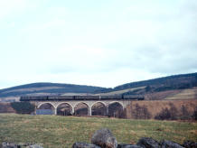 The Cravens-Swindon DMU combo snapped a second or so later on the Beltie or Blarnacrag Viaduct on 26 Feb 1966, the last day of passenger services on the Deeside Line.