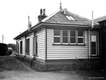 This goods office in Huntly yard clearly shares the same characteristic GNSR styling as their wooden station buildings, early1960's