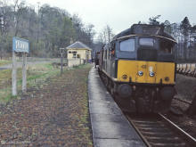 D5132 at Drummuir in May 1968, the driver is wearing the new style of uniform - a forlorn gesture in view of the line's pending closure