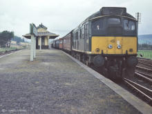 D5132 at Cairnie Junction, May 1968.  The present day single line runs along the middle of the platform as if this once important junction never existed