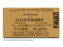 GNSR Peterhead to Montrose, 3rd Class, no issue date