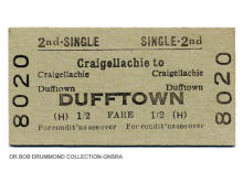 BR Craigellachie to Dufftown, 2nd class single, issued 1 Apr 1957