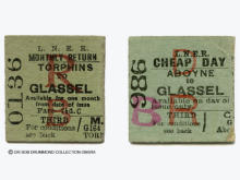 These tickets, out by train back by bus, are dated 26 June 1940[L] and 24 Nov 1944