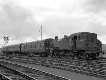2-6-4T 80121 shunts its train at Keith Junction, 17 Aug 1960