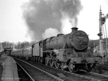 45162 leaves Huntly with the 4PM Inverness-Aberdeen 6 Apr 1960