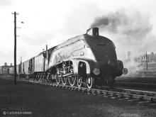 A4 class Sir Nigel Gresley at Kittybrewster in 1966, the postal coaches appear to have been turned for the trip south