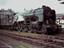 Tudor Minstrel passes through Kittybrewster Station in 1966 as it takes the empty postal coaches for turning at the shed