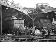 Kittybrewster 31 Oct 1940, among all the workmen clearing up the air raid damage its just possible these men could be from the Denburn permanent way gang as the shed was on their patch