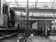 Clear up at Kittybrewster shed after air raid, photo taken on 21 Apr 1943
