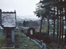 Advie station with its last passenger train heading for Aviemore on 2nd Nov 1968