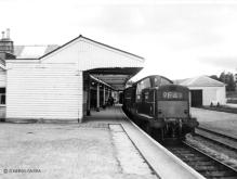 Possibly the only Clayton to reach Ballater, D8610 prepares to leave with the last freight, 15 July 1966