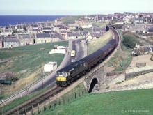 A class 26 possibly 19 or 29 leaves Cullen for Elgin on 7 May 1966