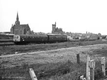 The Angus Rail Group special at Fraserburgh in June 1974. The yard where it is seen is now full of industrial units connected with the fishing industry.