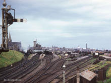 A general view of an intact layout at Fraserburgh in the early 60's, the steam loco on shed is probably working the St. Combs branch
