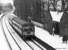One of the last trains to call at Kinaldie, the 1.42 pm Saturdays only from Insch stops for passengers on 5 Dec 1964