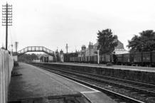 Looking East.  Goods Train for Alford in Dock Platform Loop, August 1959
